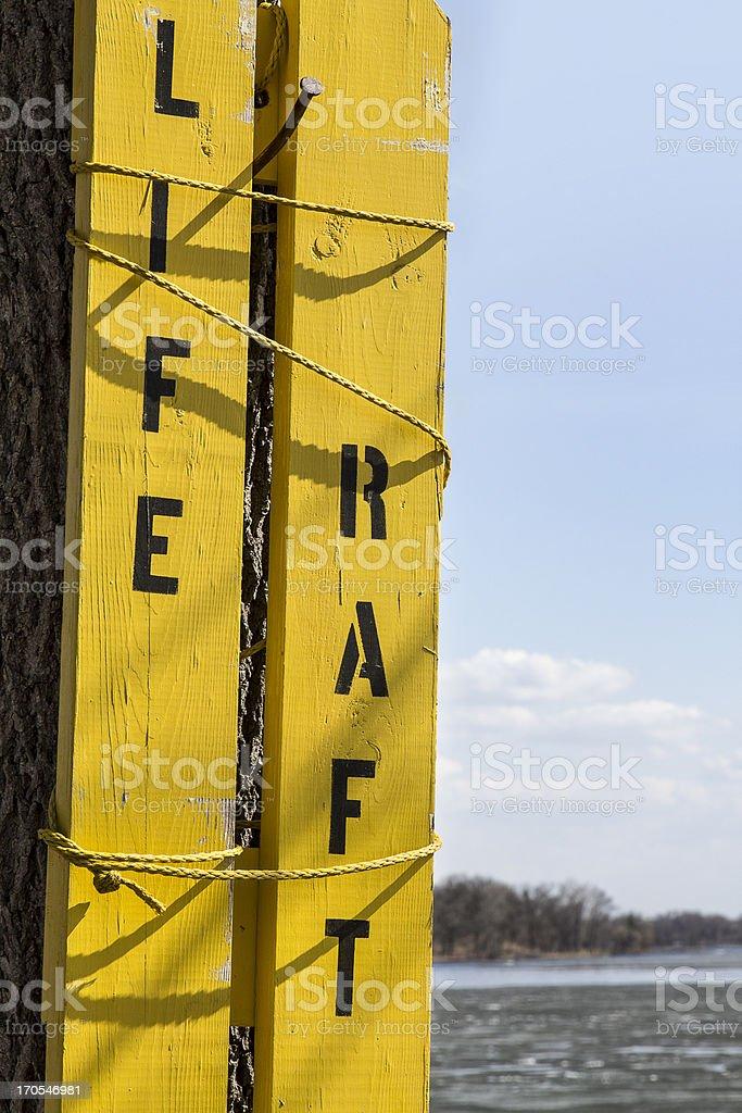 Life Raft Sign stock photo