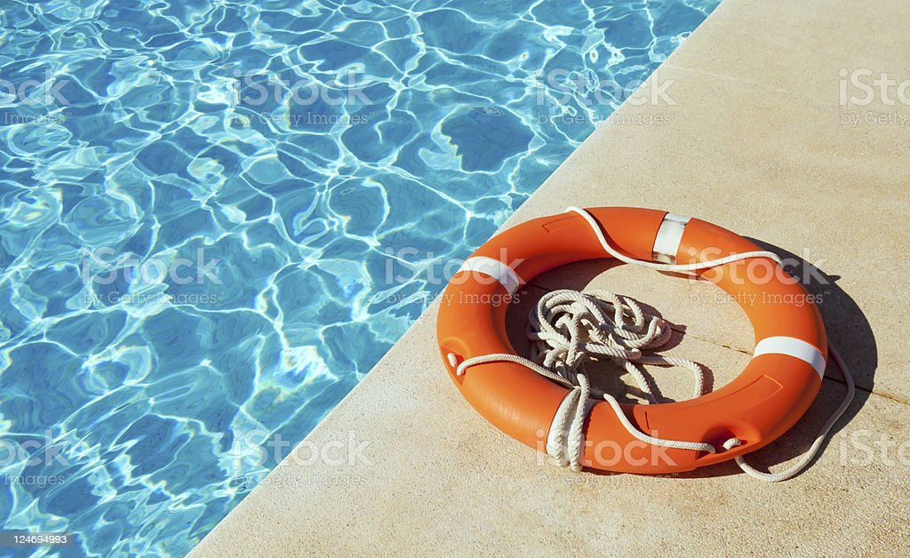 Life Ring At Side Of Swimming Pool stock photo