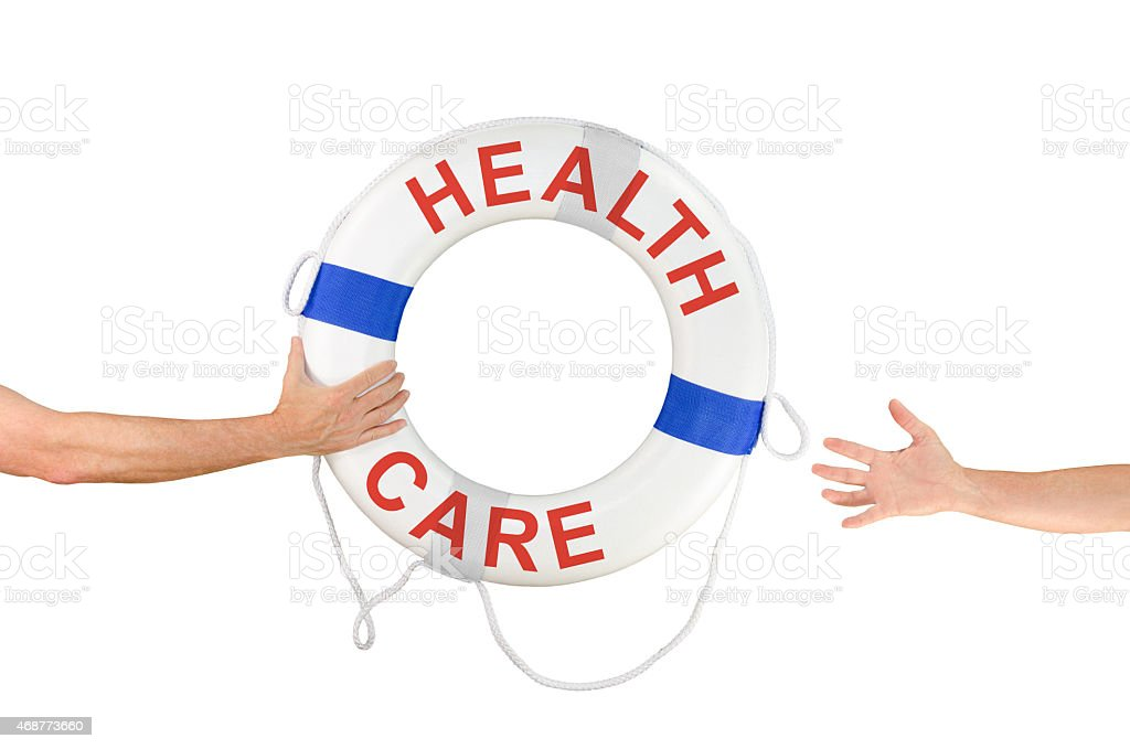 HEALTH CARE life ring buoy extended to needy person stock photo
