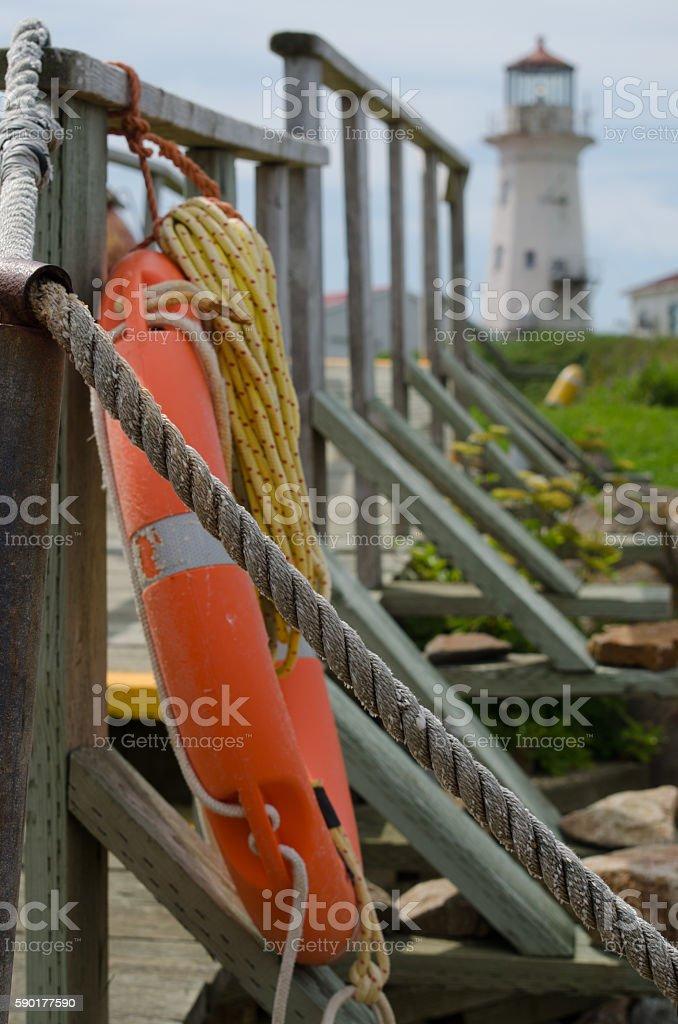Life ring on a bridge stock photo