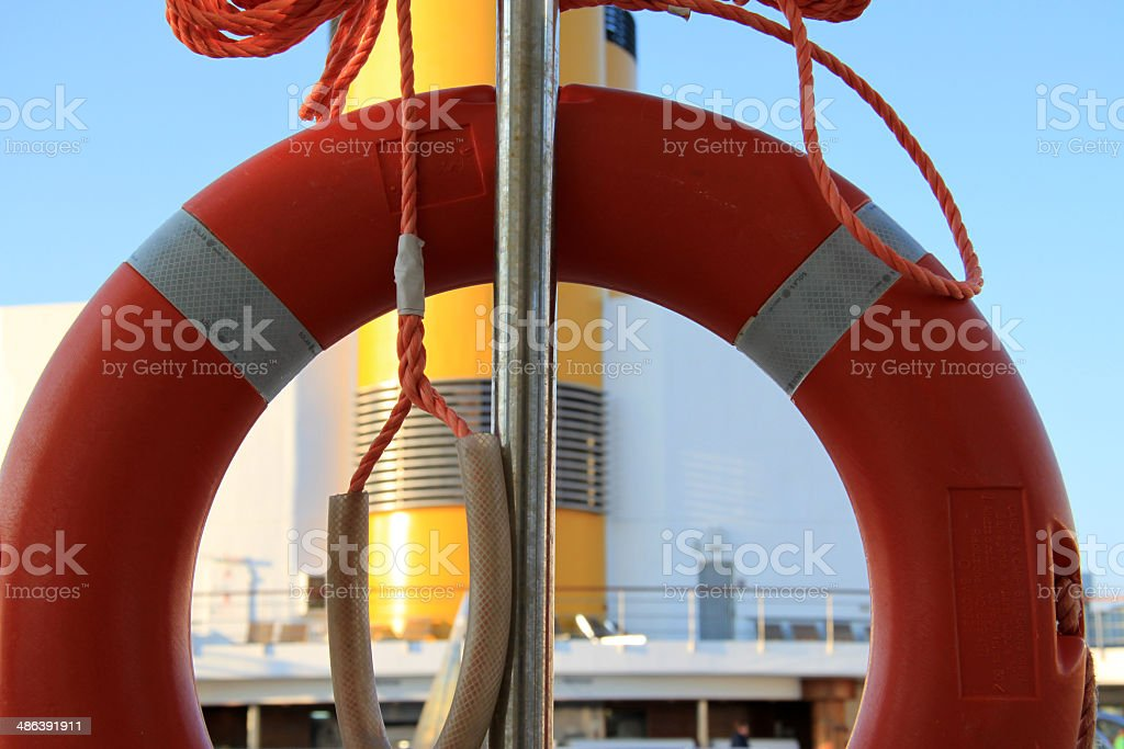 Life ring on cruise ship n.2 stock photo