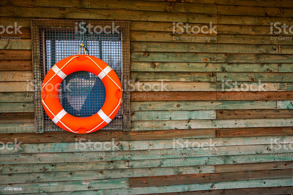 Life Ring or Life Buoy on Hut, for watersports / safety. stock photo