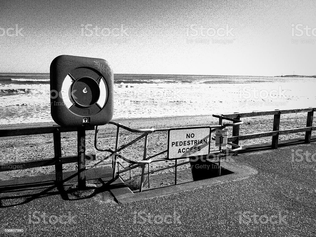 Life Ring Station at Aberdeen Beach, UK stock photo
