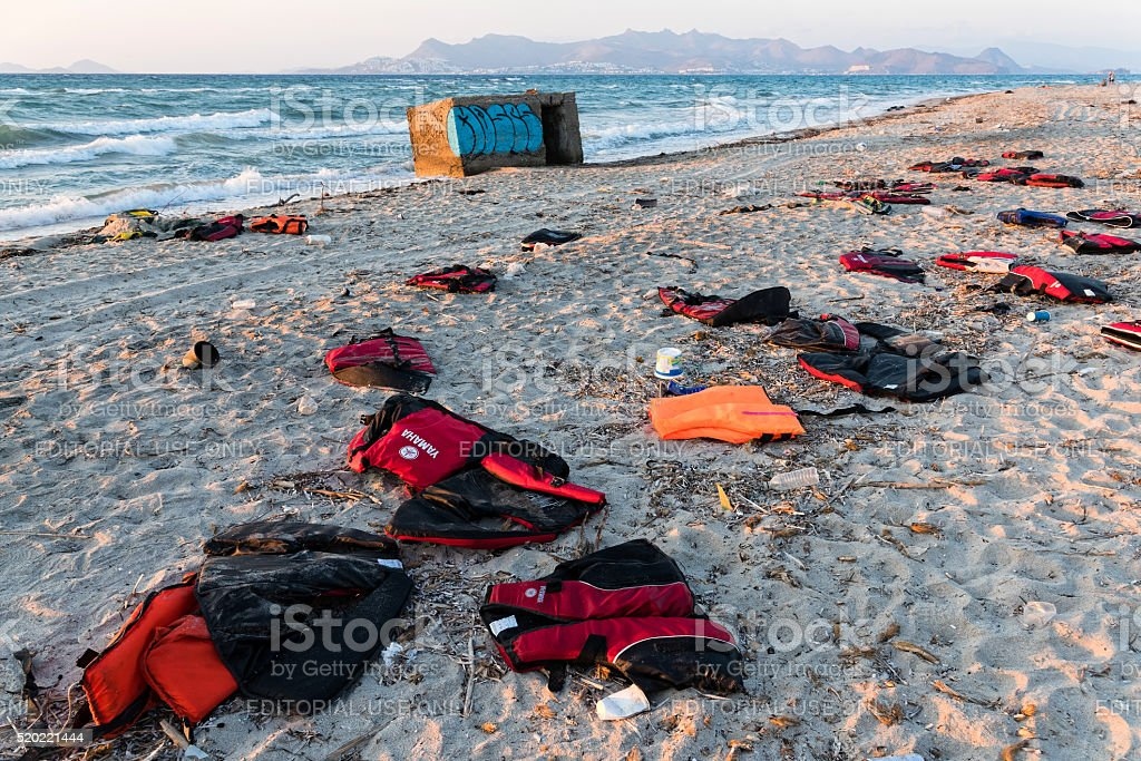 Life savers of refugees in Greece stock photo