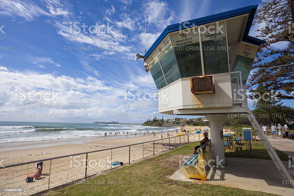 Life saving watchtower at Maroochydore beach, Queensland stock photo