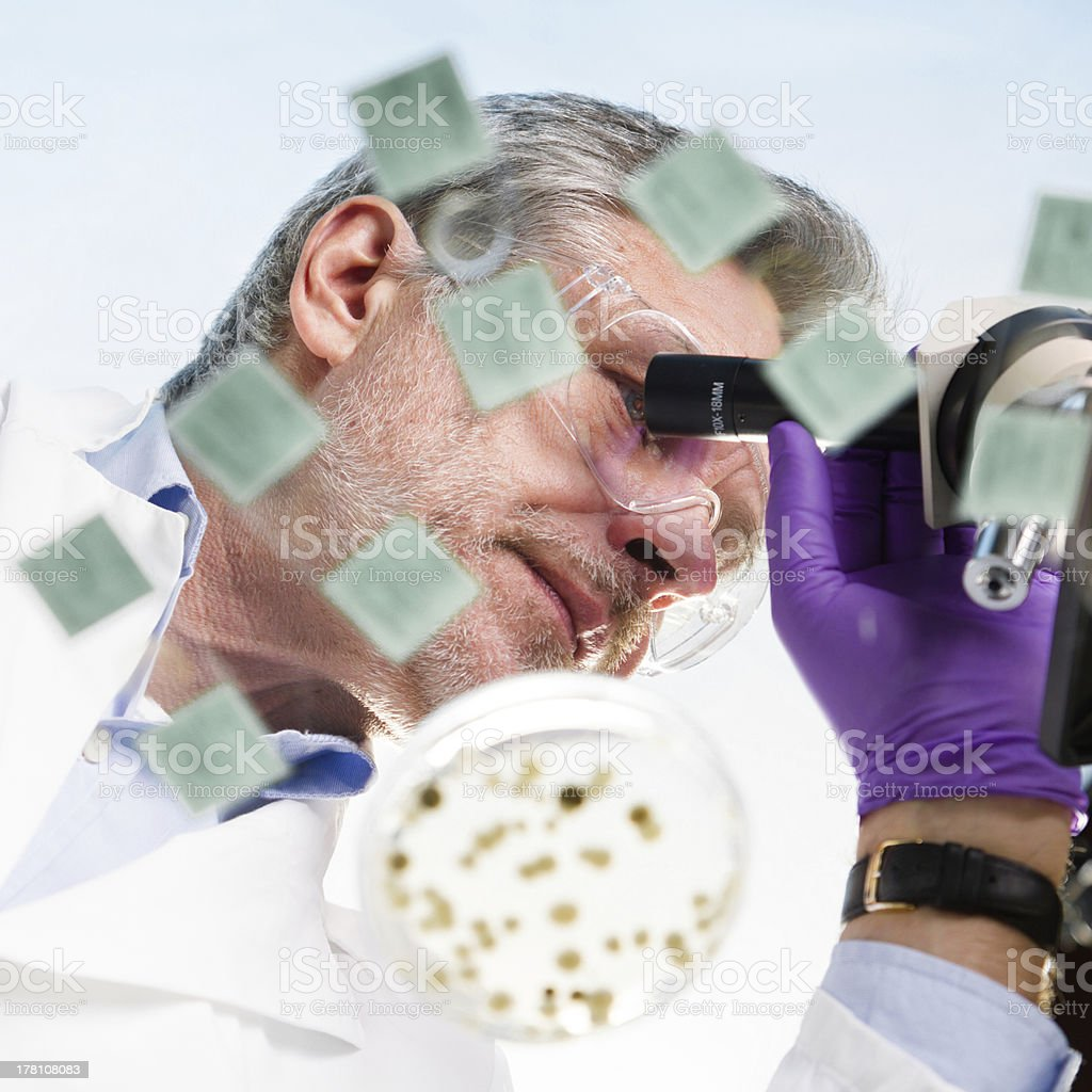 Life science researcher microscoping. royalty-free stock photo