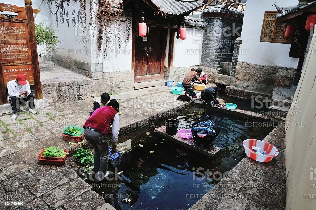 Life style in Old Town of Lijiang (Yunnan, China) stock photo