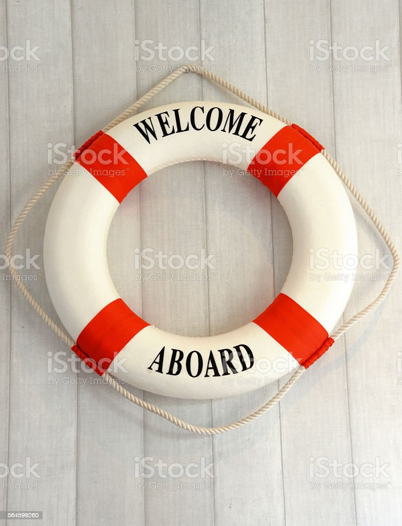 life vests on wall for decoration stock photo