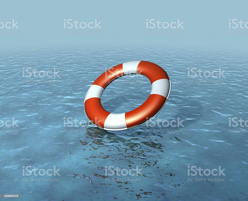 Lifebelt, buoy being thrown, rescuing, rising sea levels royalty-free stock photo