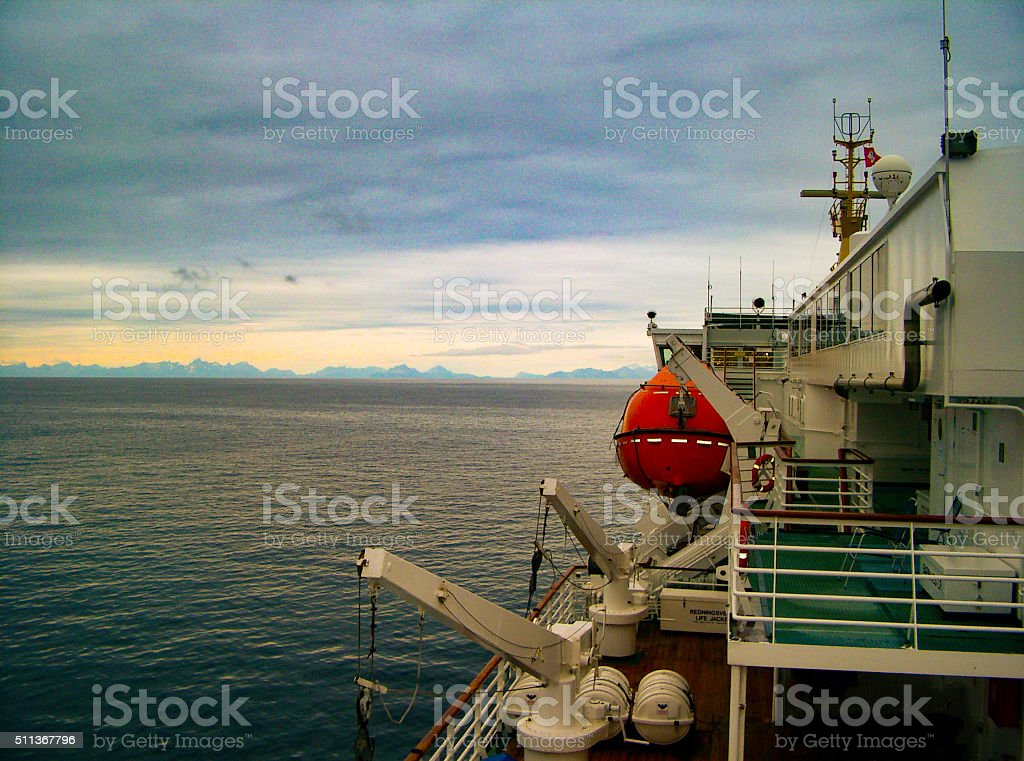 Lifeboat area of a ferry ship stock photo