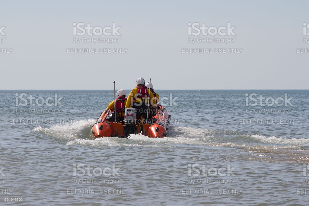 Lifeboat at sea stock photo
