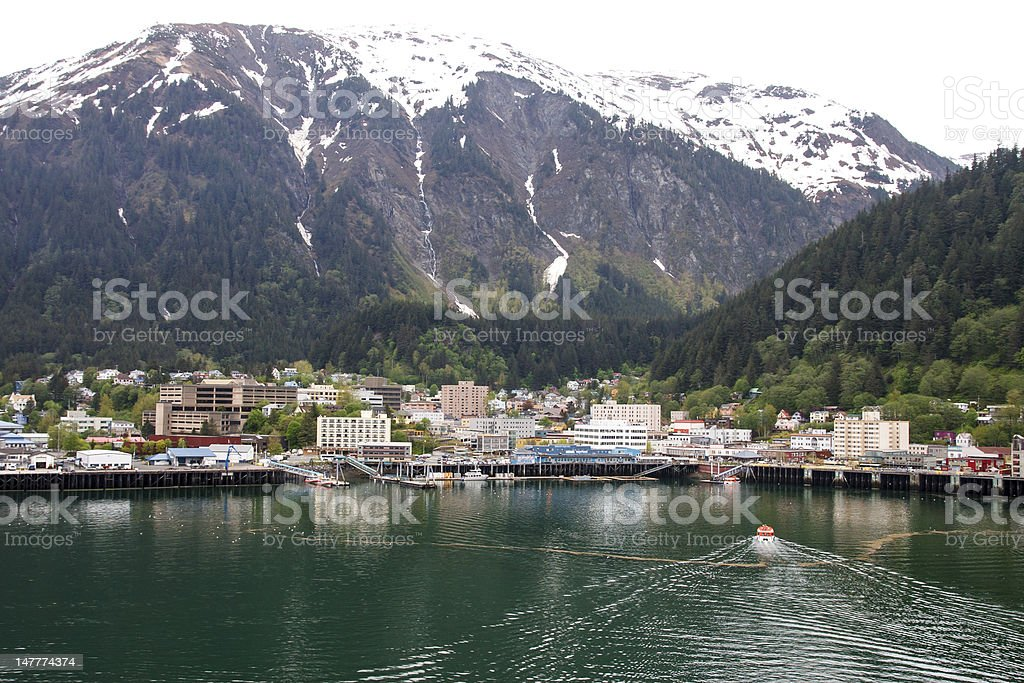 Lifeboat Cruising into Juneau Alaska stock photo