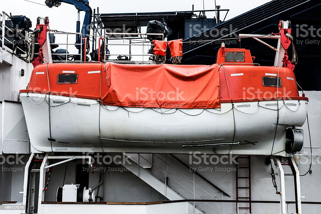 Lifeboat in Antwerpen stock photo