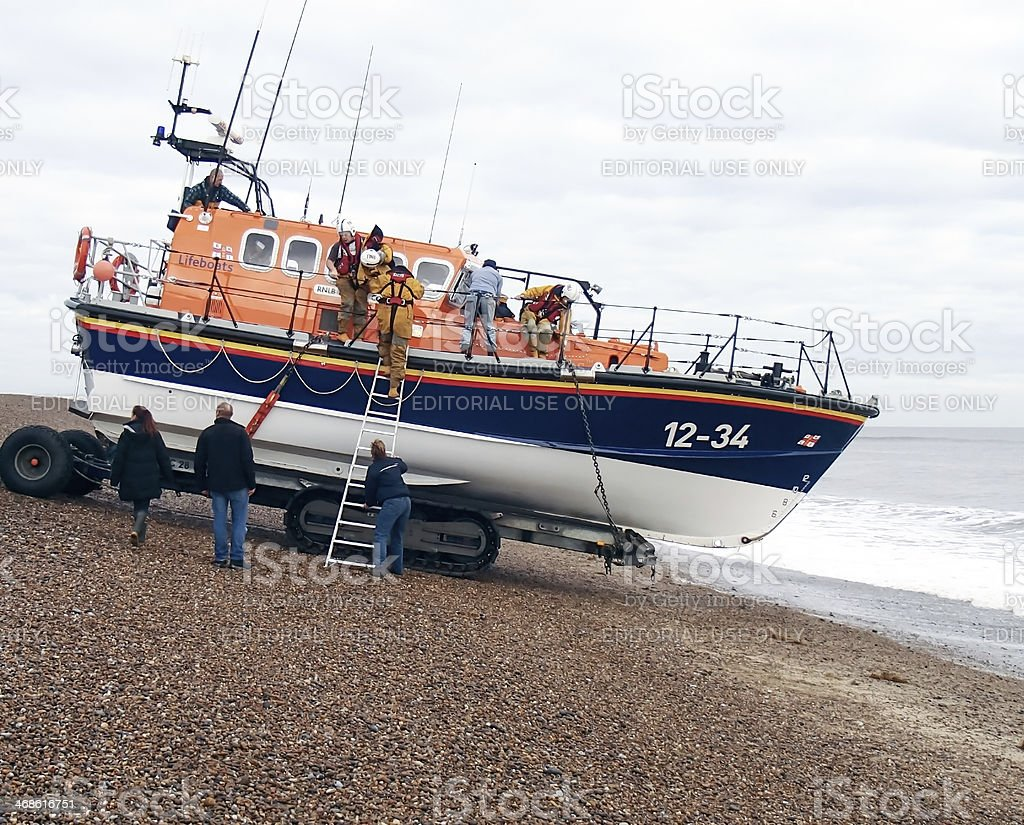 Lifeboat launch stock photo