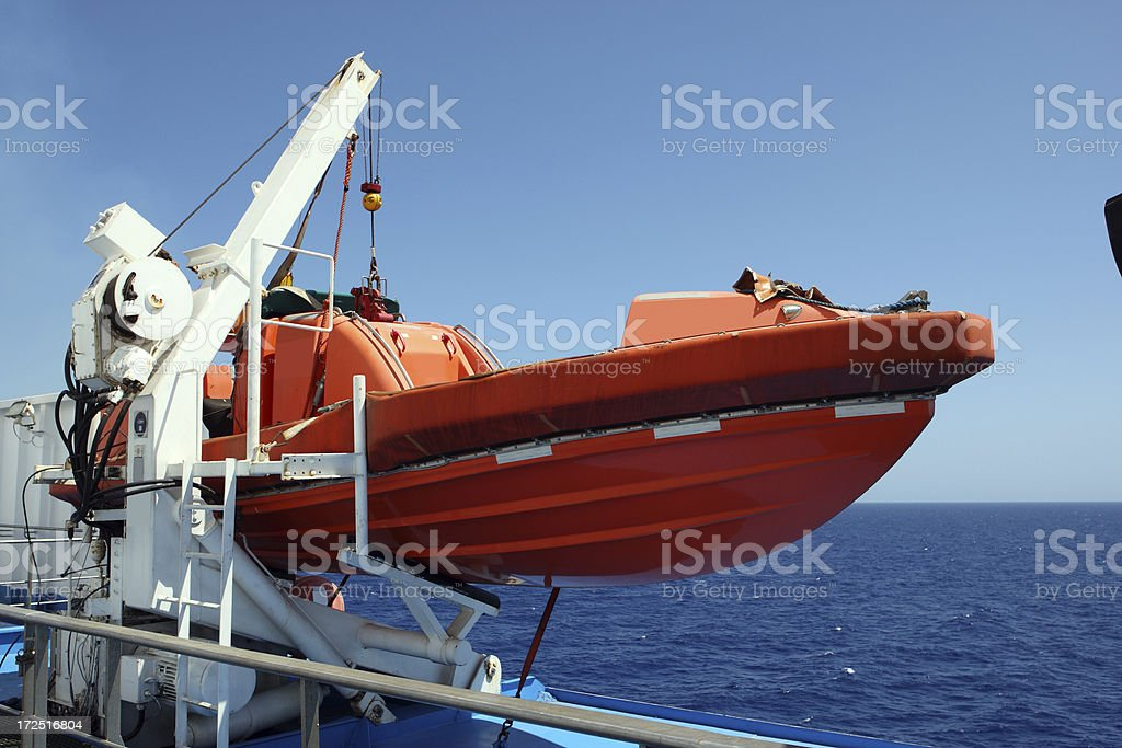Lifeboat on a cruise ship stock photo