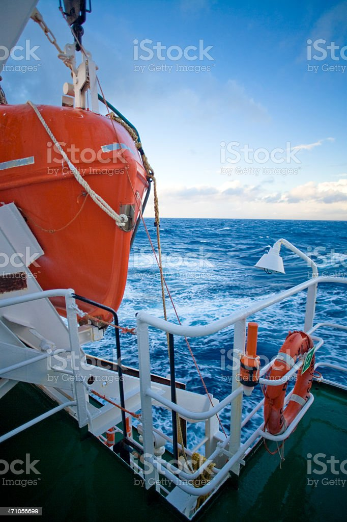 Lifeboat on Ice-Breaker Ship Deck royalty-free stock photo