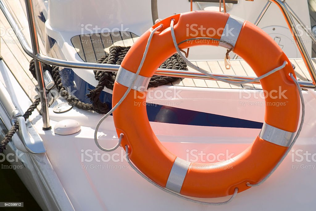 Lifeboat on Ship Deck stock photo