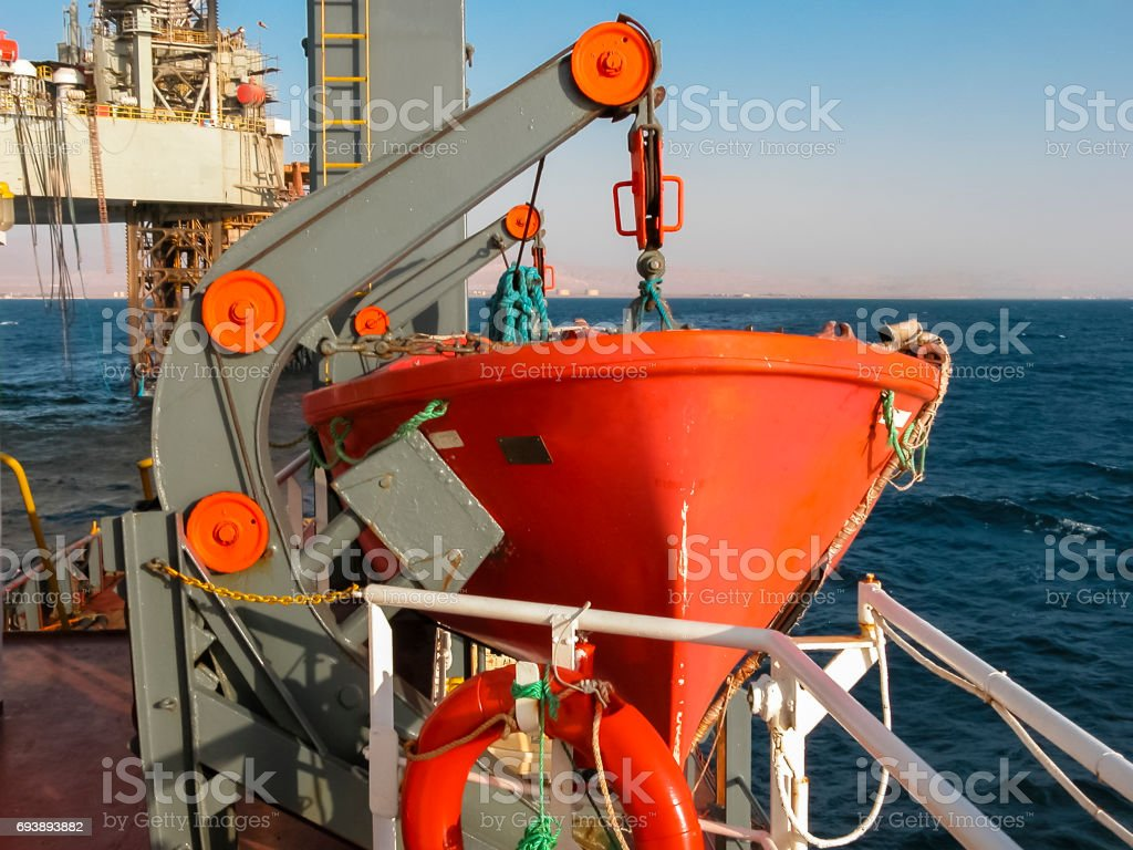 Lifeboat on Supply Vessel stock photo