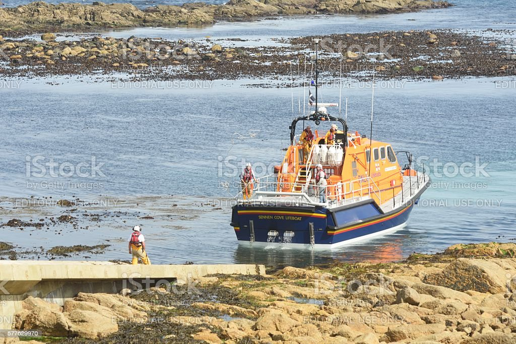 RNLI lifeboat returning up ramp stock photo