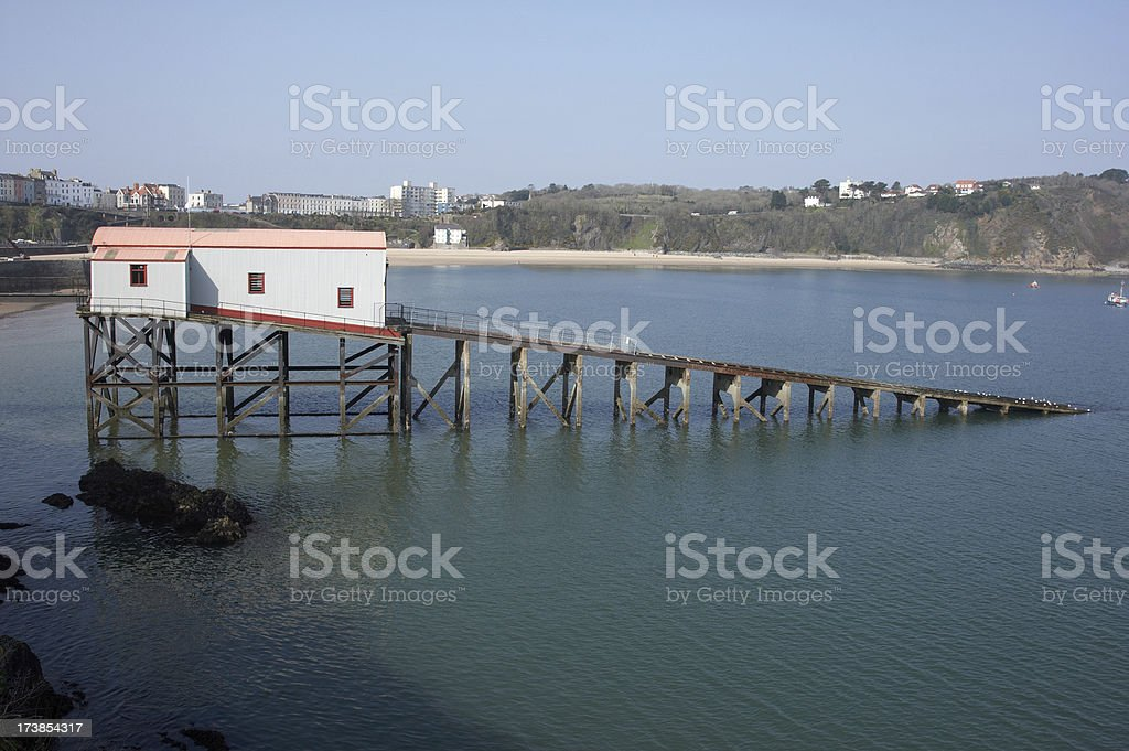 Lifeboat station and launch ramp stock photo
