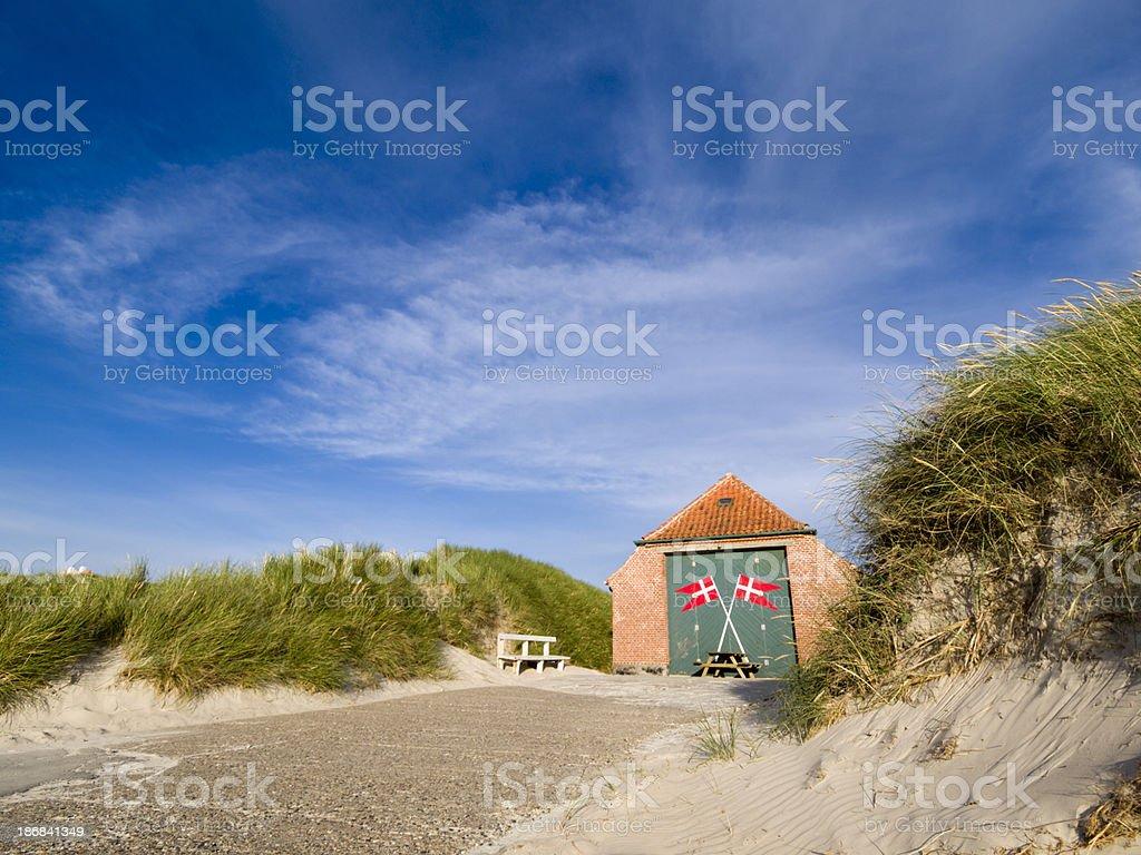 Lifeboat station at Lokken beach royalty-free stock photo