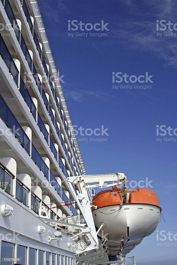 Lifeboats And Decks On Cruise Ship stock photo