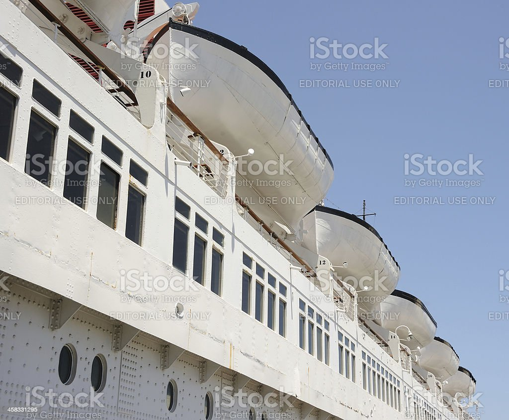 Lifeboats on the Queen Mary stock photo
