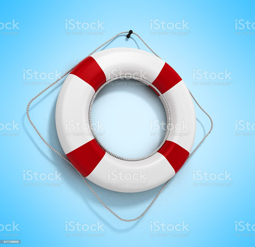 lifebuoy 3d render on a gradient background stock photo