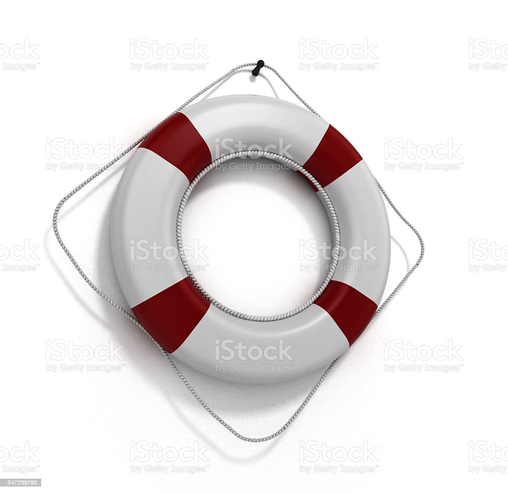lifebuoy 3d render on a white background stock photo