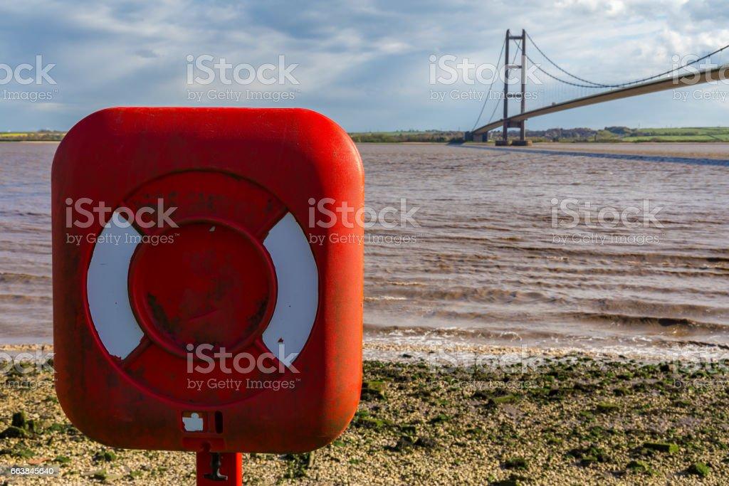 Lifebuoy at Humber Bridge, UK stock photo