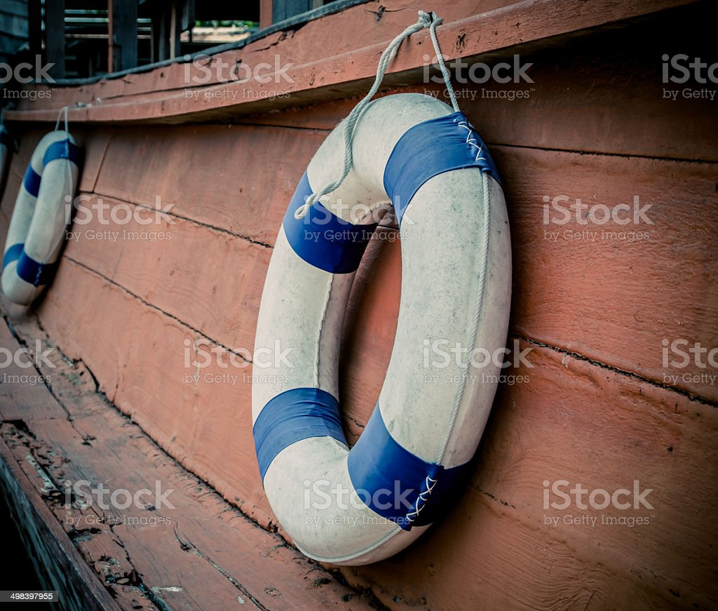 lifebuoy blue stripes royalty-free stock photo