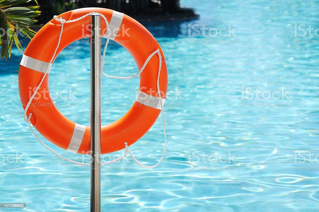 Lifebuoy by Pool stock photo