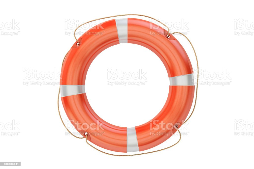 lifebuoy closeup, 3D rendering isolated on white background stock photo