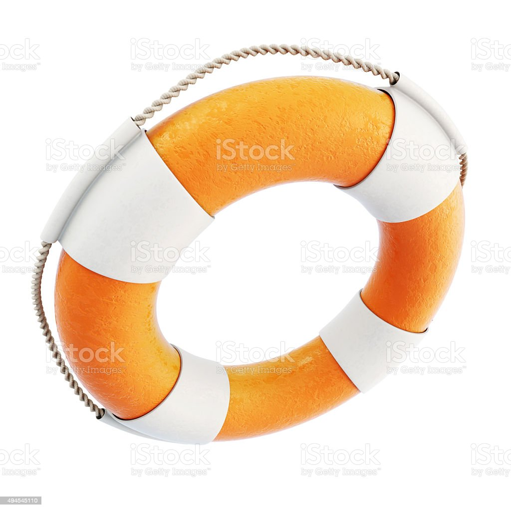 Lifebuoy close-up isolated on white background. 3d. stock photo
