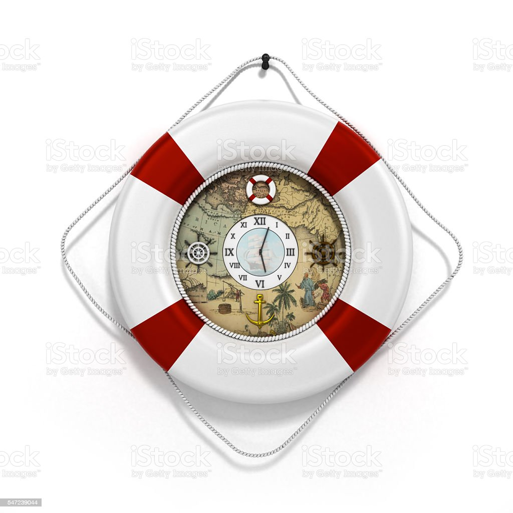 lifebuoy decor in the form of clock 3c render stock photo