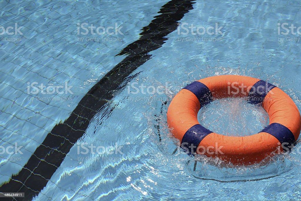 Lifebuoy in pool royalty-free stock photo