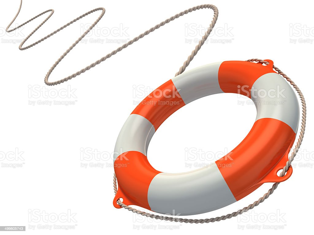 lifebuoy in the air 3d illustration stock photo