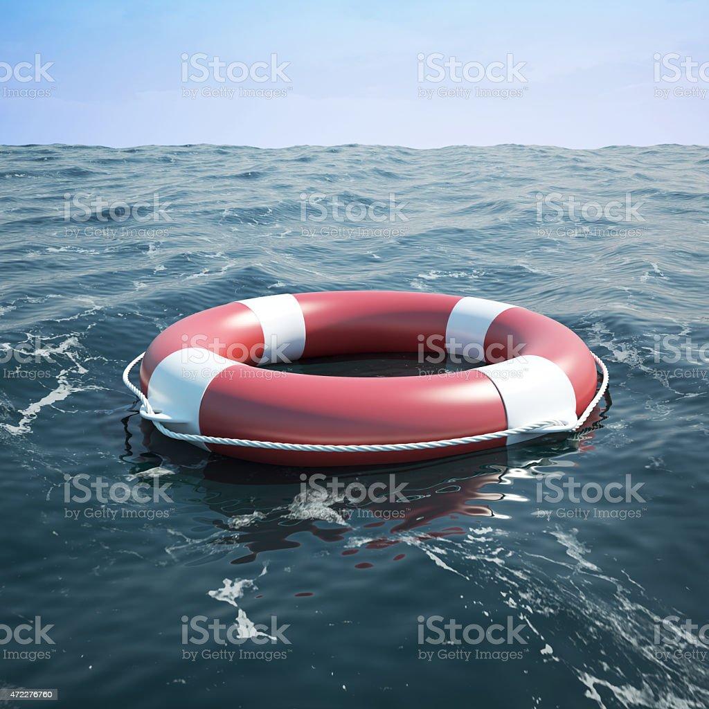 Lifebuoy in the sea stock photo