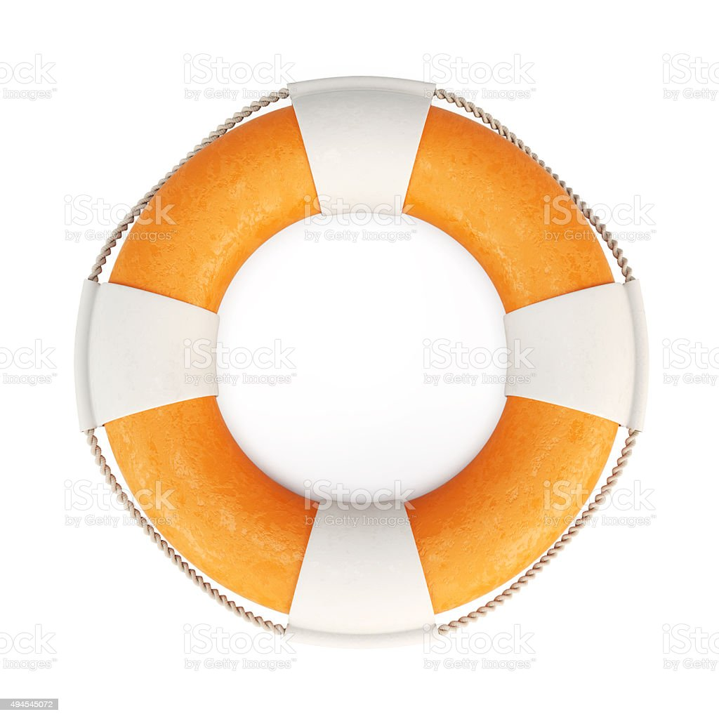 Lifebuoy isolated on white background. 3d. stock photo