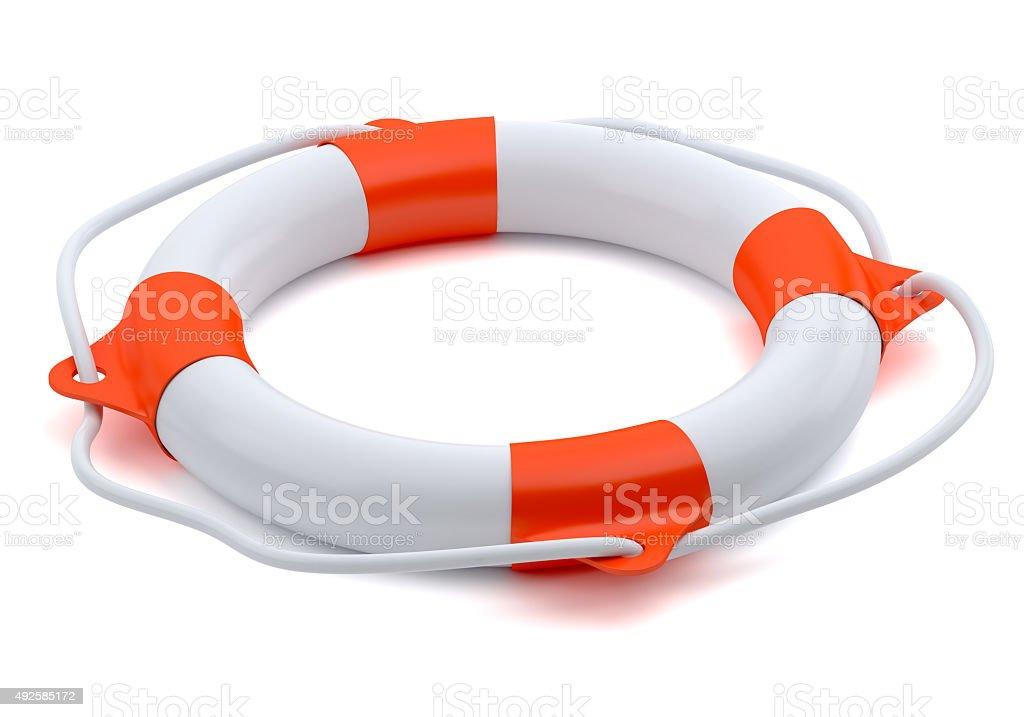 Lifebuoy isolated on white  background stock photo