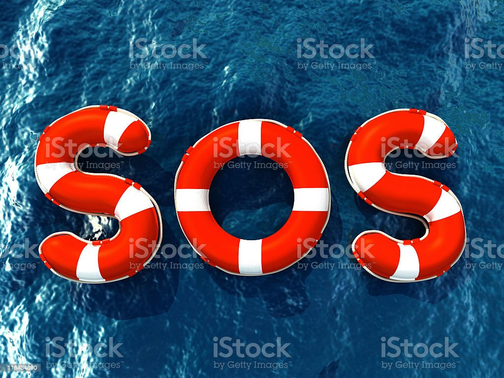 Lifebuoy letters forming SOS word stock photo