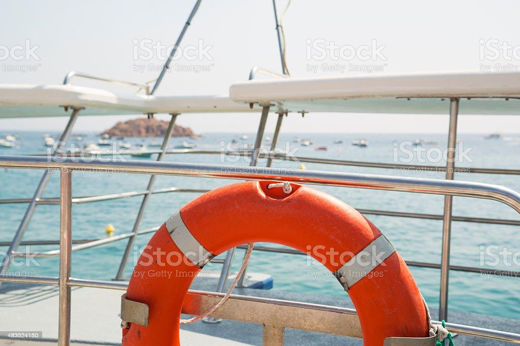 Lifebuoy on a boat stock photo