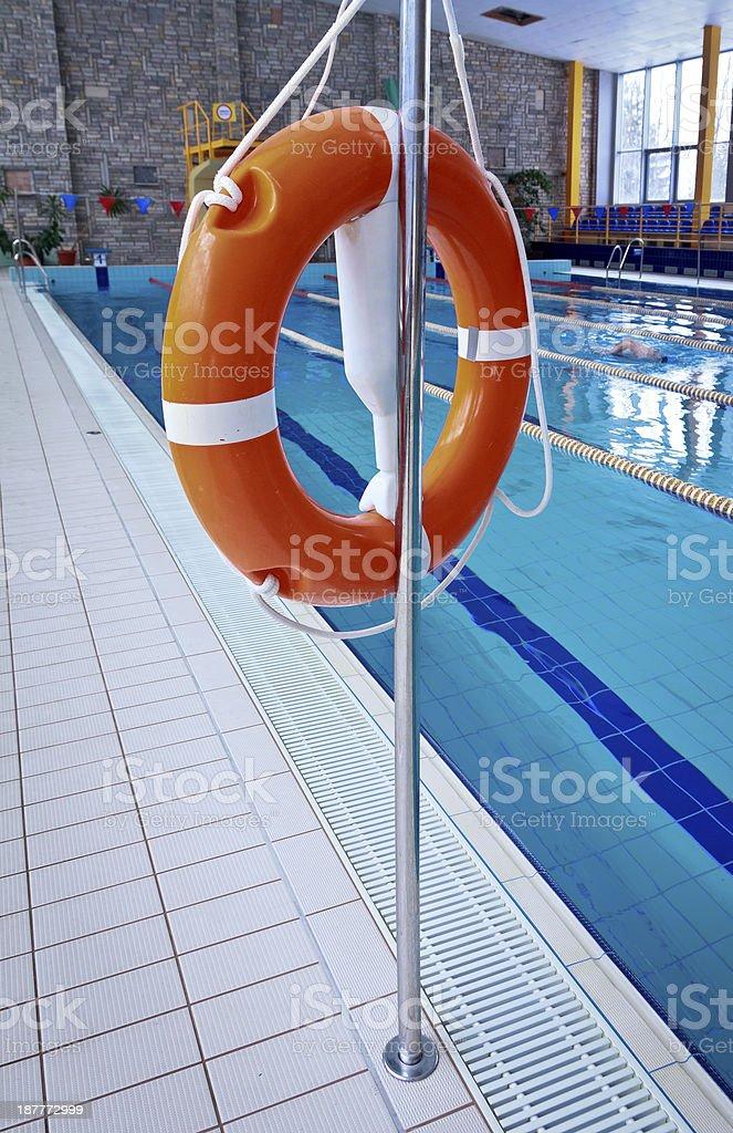 Lifebuoy on a pool royalty-free stock photo