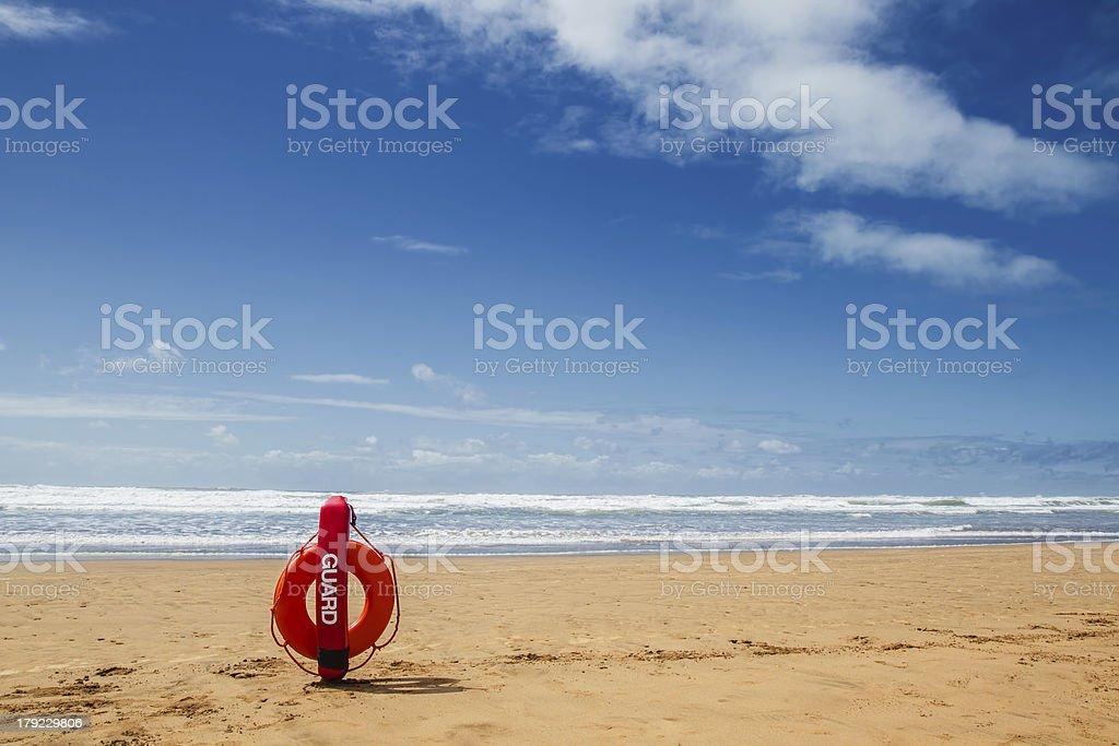 Lifebuoy on sea background royalty-free stock photo