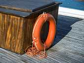 Lifebuoy on the deck of cruise ship