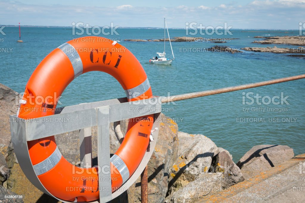 lifebuoy on the sea stock photo