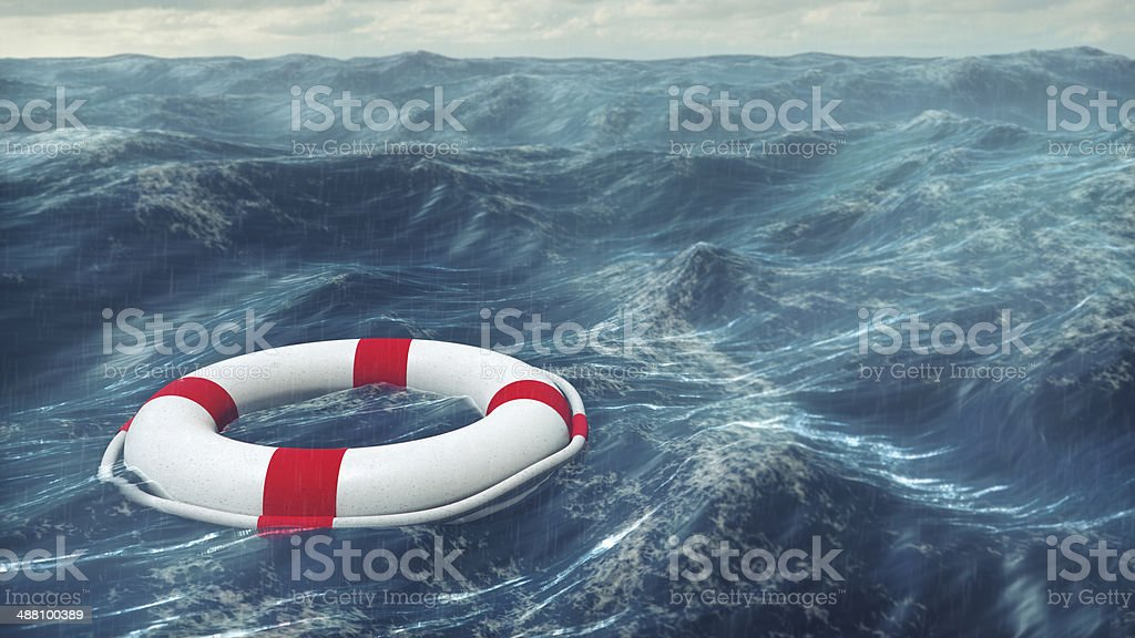 Lifebuoy On The Stormy Sea stock photo