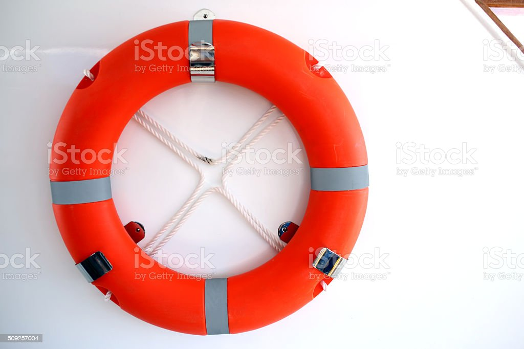 Lifebuoy ring onboard the ship, a close up stock photo