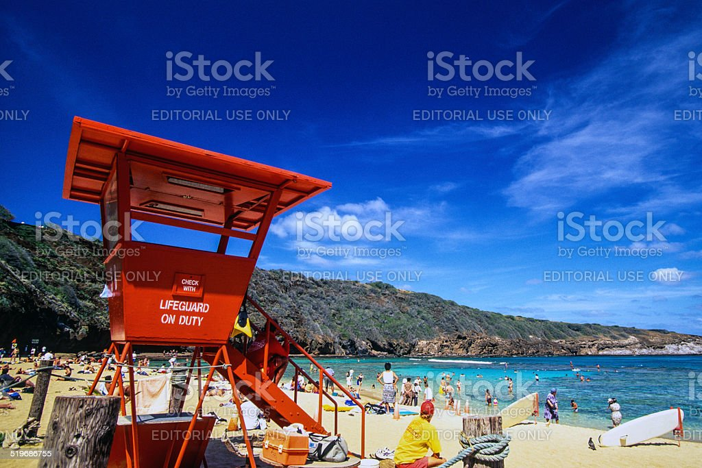 Lifeguard at Hanauma Bay stock photo