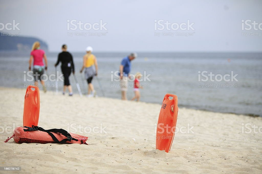 Lifeguard beach rescue equipment royalty-free stock photo